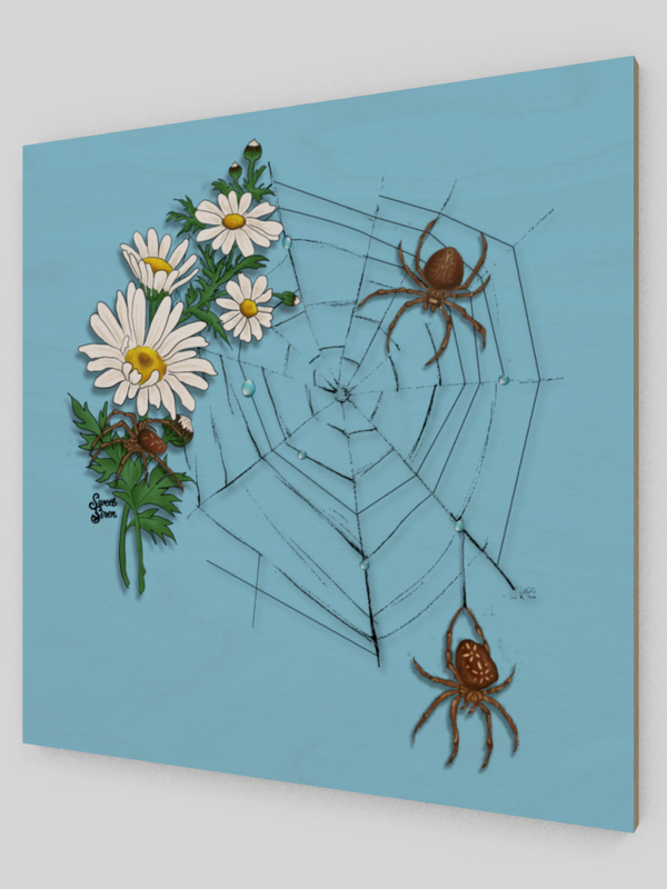 Daisy Spider Web - Wooden Art Print