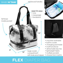 Load image into Gallery viewer, Baby K'Tan Flex Convertible Diaper Bag - Tie Dye Black - Posh Baby Co.