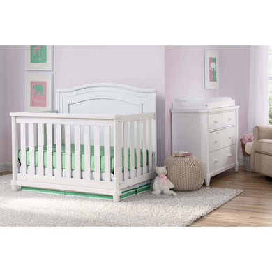 Delta Children Simmons Kids Belmont 5-Piece Baby Nursery Furniture Set - Bianca White - Posh Baby Co.