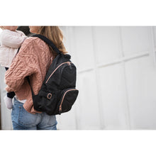 Load image into Gallery viewer, Storksak Hero Diaper Bag Backpack - Black and Rose Gold