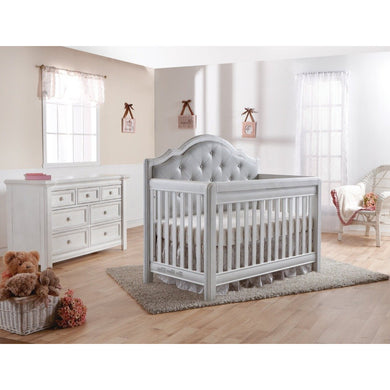 Pali Cristallo 2-Piece Nursery Furniture Set in Vintage White - Gray Vinyl Panel (Crib + Double Dresser) - Posh Baby Co.