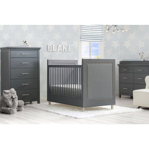 Delta Children Simmons Kids Avery 6-Piece Baby Nursery Furniture Set – Charcoal Grey - Posh Baby Co.