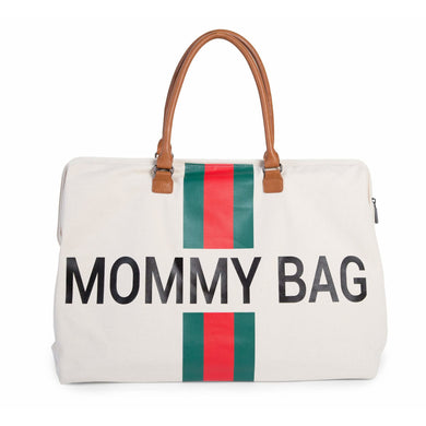 Mommy Bag Stripes Diaper Bag - Limited Edition Off White With Green/Red Stripe