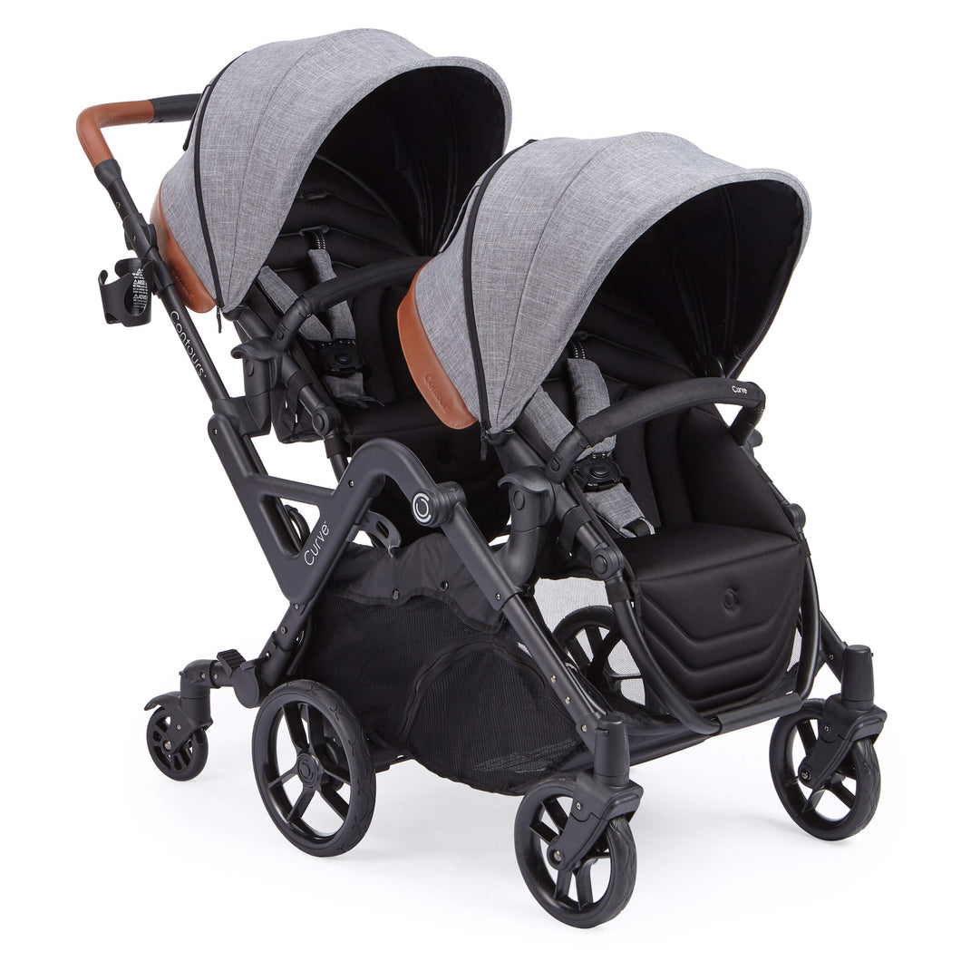 Contours Curve Double Stroller - Graphite Gray - Posh Baby Co.