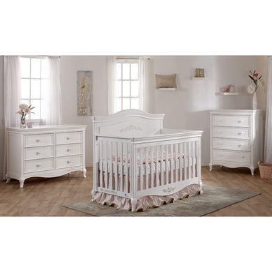 Pali Diamante Forever 4-In-1 Convertible Crib in Vintage White - Décor Panel - Posh Baby Co.