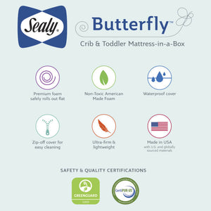 Sealy Butterfly Breathable Knit Crib & Toddler Mattress-In-a-Box - Posh Baby Co.