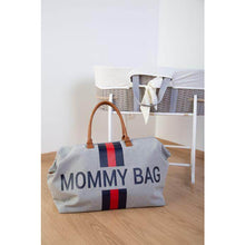 Load image into Gallery viewer, Mommy Bag Stripes Diaper Bag - Limited Edition Grey With Red/Blue Stripe
