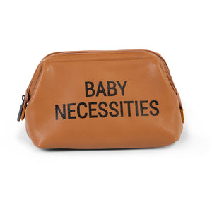 ChildHome Baby Necessities Toiletry Bag - Leatherlook Brown