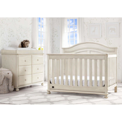 Delta Children Simmons Kids Bedford 5-Piece Baby Nursery Furniture Set - Antique White - Posh Baby Co.