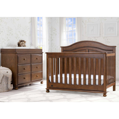 Delta Children Simmons Kids Bedford 5-Piece Baby Nursery Furniture Set - Antique Chestnut - Posh Baby Co.