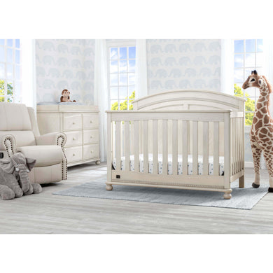 Delta Children Simmons Kids Ainsworth 5-Piece Baby Nursery Furniture Set - Antique White - Posh Baby Co.