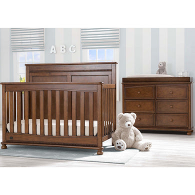 Delta Children Simmons Kids Fontana 5-Piece Baby Nursery Furniture Set - Antique Chestnut - Posh Baby Co.