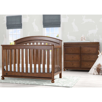 Delta Children Simmons Kids Aden 5-Piece Baby Nursery Furniture Set - Antique Chestnut - Posh Baby Co.