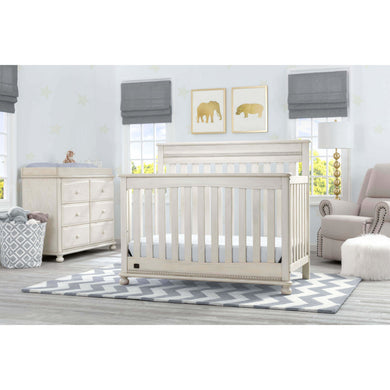 Delta Children Simmons Kids Franklin 5-Piece Nursery Furniture Set - Antique White - Posh Baby Co.