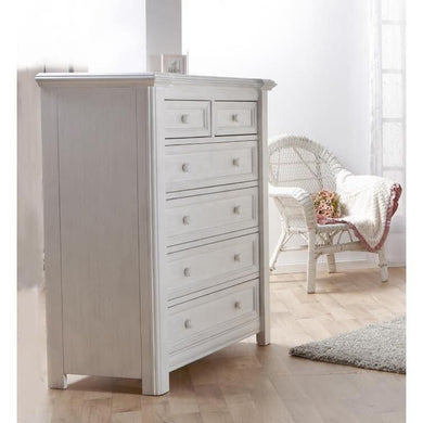 Pali Cristallo Fiver Drawer Dresser in Vintage White - Posh Baby Co.