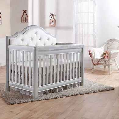Pali Cristallo Forever 4-In-1 Convertible Crib in Vintage White - White Vinyl - Posh Baby Co.