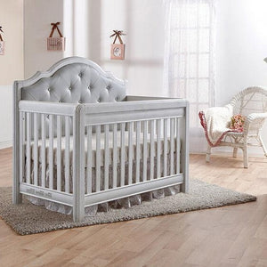 Pali Cristallo Forever 4-In-1 Convertible Crib in Vintage White - Grey Vinyl - Posh Baby Co.