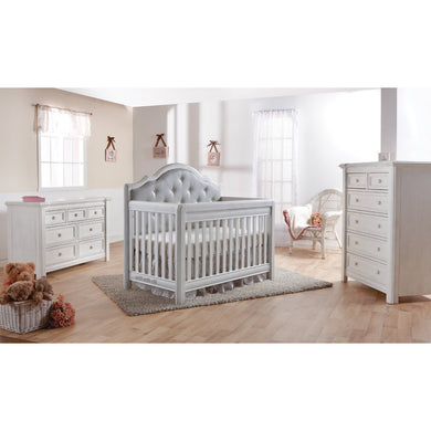 Pali Cristallo 3-Piece Nursery Furniture Set in Vintage White - Gray Vinyl Panel - Posh Baby Co.
