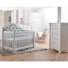 Load image into Gallery viewer, Pali Cristallo 2-Piece Nursery Furniture Set in Vintage White - Gray Vinyl Panel(Crib + 5 Drawer Dresser) - Posh Baby Co.