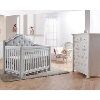 Pali Cristallo 2-Piece Nursery Furniture Set in Vintage White - Gray Vinyl Panel(Crib + 5 Drawer Dresser) - Posh Baby Co.
