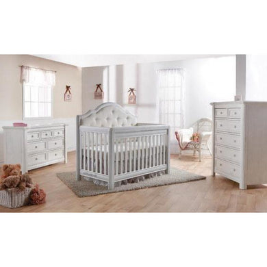 Pali Cristallo 3-Piece Nursery Furniture Set in Vintage White - White Vinyl Panel - Posh Baby Co.