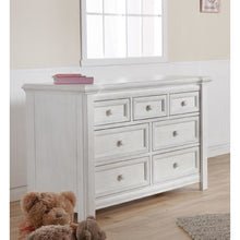 Load image into Gallery viewer, Pali Cristallo 2-Piece Nursery Furniture Set in Vintage White - Gray Vinyl Panel (Crib + Double Dresser) - Posh Baby Co.