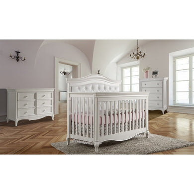 Pali Diamante Forever 4-In-1 Convertible Crib in Vintage White - White Vinyl - Posh Baby Co.