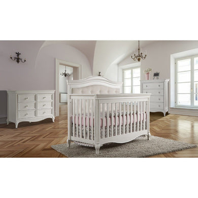 Pali Diamante Forever 4-In-1 Convertible Crib in Vintage White - Beige Fabric - Posh Baby Co.