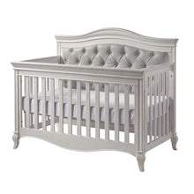 Load image into Gallery viewer, Pali Diamante Forever 4-In-1 Convertible Crib in Vintage White - Grey Vinyl - Posh Baby Co.