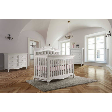 Pali Diamante 3-Piece Nursery Furniture Set in Vintage White - Vinyl Gray Panel - Posh Baby Co.