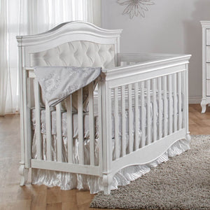 Pali Diamante 3-Piece Nursery Furniture Set in Vintage White - Beige Fabric Panel - Posh Baby Co.