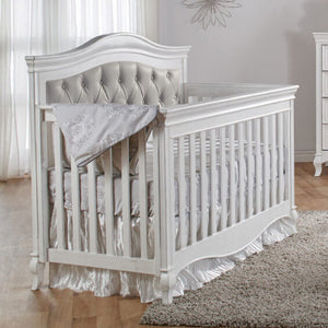 Pali Diamante Forever 4-In-1 Convertible Crib in Vintage White - Grey Vinyl - Posh Baby Co.