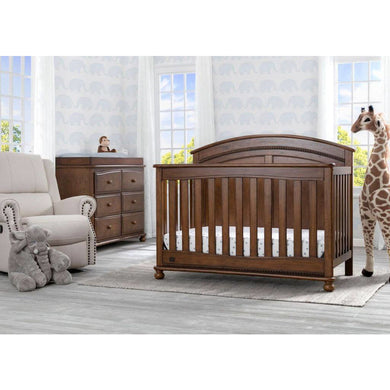Delta Children Simmons Kids Ainsworth 5-Piece Baby Nursery Furniture Set - Antique Chestnut - Posh Baby Co.