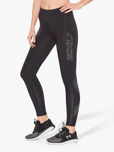 2xu mid rise compression tights front side view, 2xu leggings, 2xu tights, pose fit