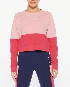 2XU Colour block sweat front view close up, 2xu uk, 2xu sweater, womens sweaters, womens oversized sweaters, 2xu, pose fit