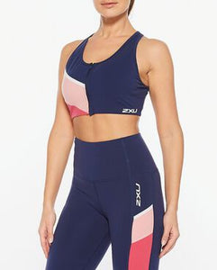 2XU Colour Block Zip Crop on female model wearing matching leggings, 2xu, pose fit, 2xu compression leggings