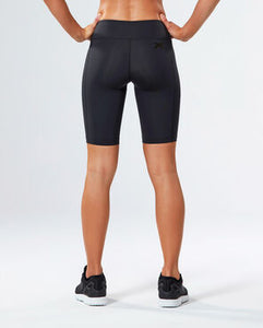 2xu mid-rise compression cycling shorts in black back view, cycling shorts, biker shorts, 2xu compression shorts, 2xu shorts, mid rise shorts, pose fit