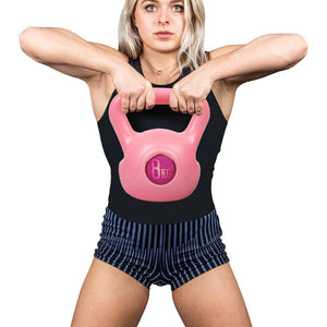 Phoenix Fitness 8kg pink kettlebell in packaging, 8kg phoenix fitness kettlebell, kettlebell, kettlebell 8kg, pose fit