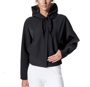 Women's Black Batwing Hoodie front hand in pocket- Pose Fit
