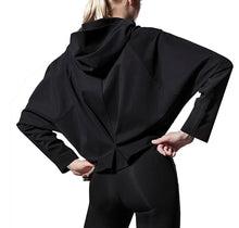 Load image into Gallery viewer, Women's Black Batwing Hoodie from the back - Pose Fit