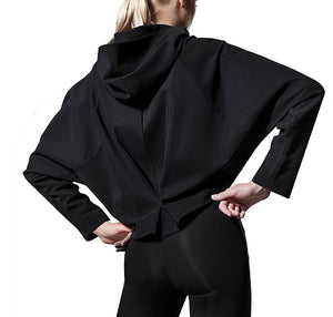 Women's Black Batwing Hoodie from the back - Pose Fit