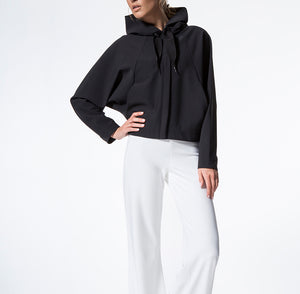 Women's Black Batwing Hoodie front view- Pose Fit
