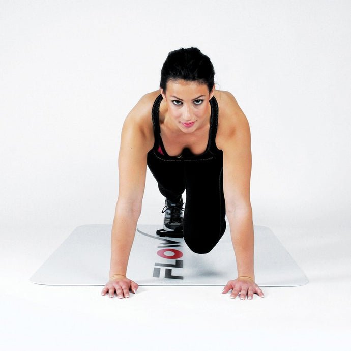 Flowin Sport board with female demonstrating the exercise, Pose Fit, core exercise, workouts at home
