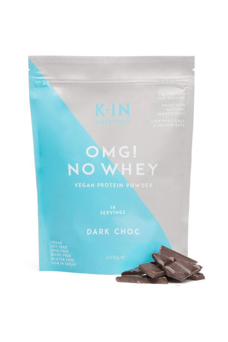 Kin nutrition - omg no whey vegan protein powder dark choc, vegan protein powder, protein powder, protein shakes, natural protein powder, pose fit, kin nutrition