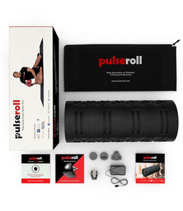 Pulseroll vibrating foam roller - whats in the box lay flat, vibrating foam roller, pulseroll recovery products, foam roller, pulseroll, best foam roller, pose fit