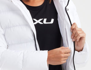2xu utility insulation jacket close up inside pocket, 2xu womens jacket, womens jacket white, womens padded jacket uk, pose fit