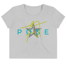 Load image into Gallery viewer, White Noise Pose Crop Tee - flat lay image -Pose Fit