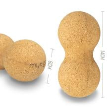 Myga Cork Massage Peanut showing dimensions, peanut ball, massage peanut, pose fit