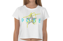 Load image into Gallery viewer, White Noise Pose Star Print Crop Tee - front view of model woman- Pose Fit