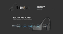 Load image into Gallery viewer, Aftershokz Xtrainerz Swimming MP3 Headphones close up of the headphone technology, built in mp3 player, bone conduction headphones, pose fit